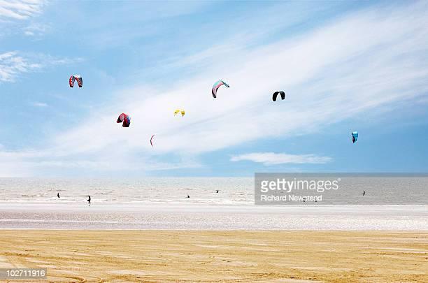 kiteboarder paradise - newpremiumuk stock pictures, royalty-free photos & images