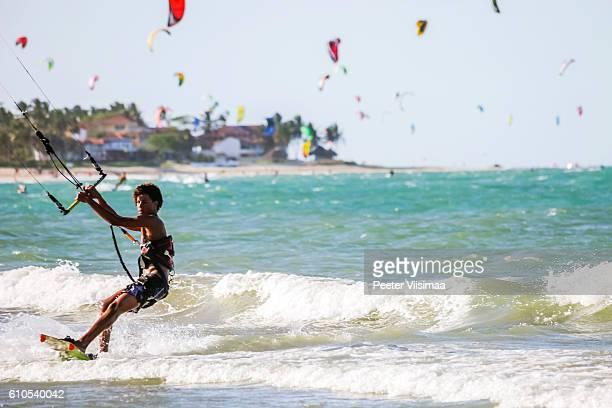 Kiteboarding at Cabarete beach, Dominican Rep.