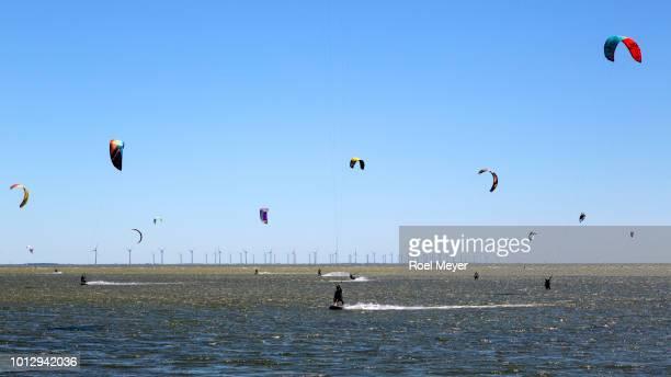 Kiteboarding on Dutch Lake IJssel