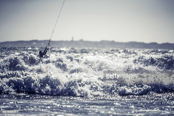 kiteboarding - exhilaration stock photos and pictures