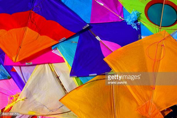 Kites, Colourful background, Ahmedabad, Gujarat, India