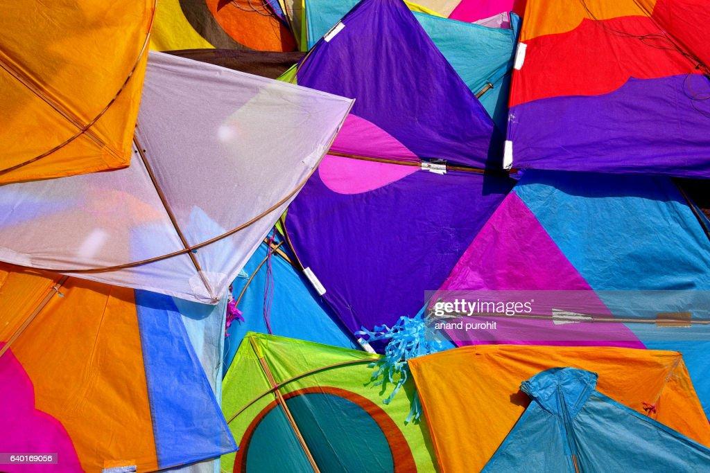 Kites, Colourful background, Ahmedabad, Gujarat, India : Stock Photo