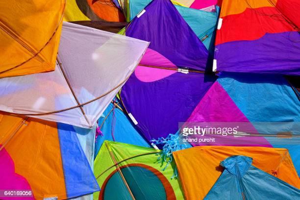 Kites, Colourful background, Ahmedabad, Gujarat, India