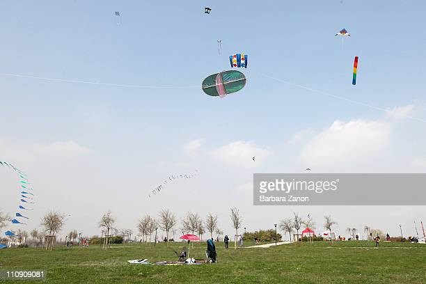 Kites fly during the first 'Festival of Spring and North Winds' kite festival at Parco San Giuliano on March 26 2011 in Mestre Italy Many local...