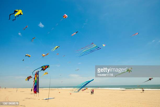 kites flying in ocean city, maryland, usa - ocean city maryland stock pictures, royalty-free photos & images