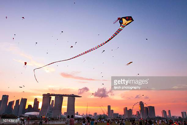 kites - singapore city stock photos and pictures
