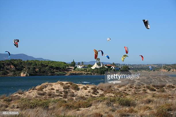 kites surfers 3 - alvor stock pictures, royalty-free photos & images
