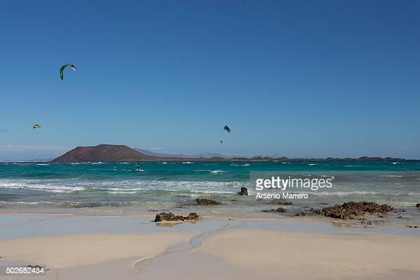 Kitesurf in Corralejo Fuerteventura Island with Lobos Island in background