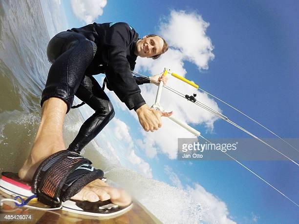 Kitesurfaction en el Mar del Norte de San Pedro-Ording, Alemania, GoPro imagen