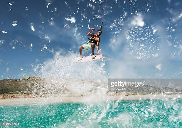 Kitesurfer flying in air, Tarifa, Spain