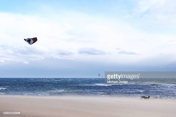 A view from Brighton Beach is seen as a storm passes over Port Phillip Bay on July 17 2018 in Melbourne Australia The Bureau of Meteorology has...