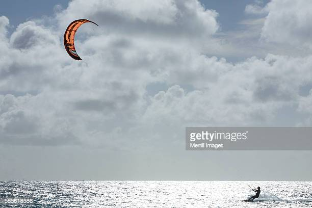 Kite-surfer on Caribbean Sea
