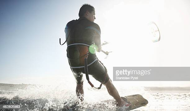 Kitesurfer on sea