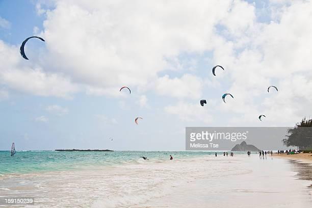 kitesurfers at kailua beach in oahu, hawaii - kailua beach stock photos and pictures