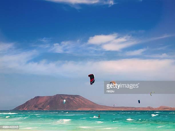 Kitesurfers in Fuerteventura island