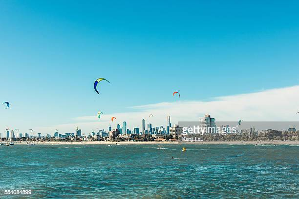 Kitesurfing in the seafront of Melbourne