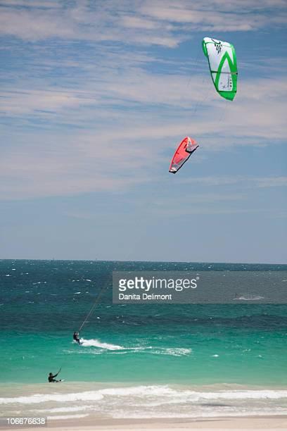 Kitesurfing on a beach just outside Freemantle, Freemantle, Western Australia, Australia