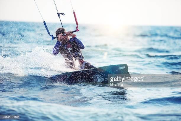 kitesurfing - kiteboarding stock photos and pictures