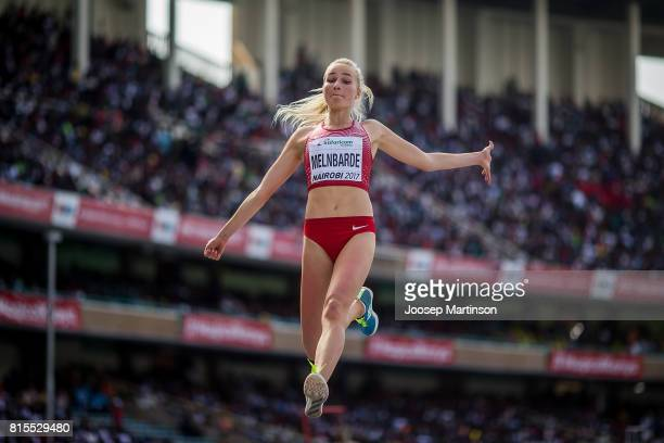 Kitija Paula Melnbarde of Latvia competes in the girls long jump during day 5 of the IAAF U18 World Championships at Moi International Sports Centre...
