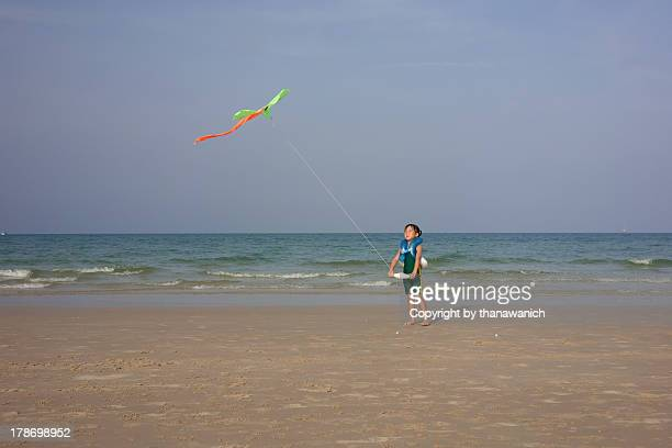 Kiting on the beach