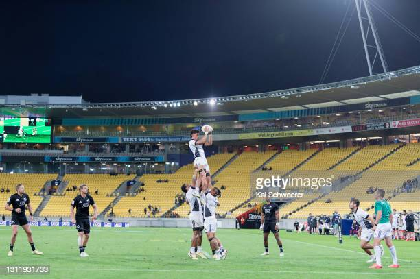 Kitiona Vai wins a lineout during the match between the All Blacks Sevens Black and All Blacks Sevens White at Sky Stadium, on April 11 in...
