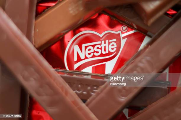 KitKat chocolate bars, manufactured by Nestle SA, arranged in London, U.K., on Monday, July 26, 2021. Nestle report their half-year results on July...