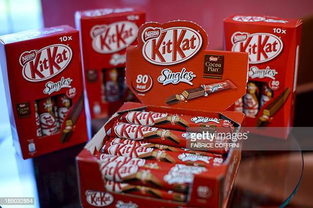 Kitkat chocolate products are displayed at the headquarters of the world's biggest food company Nestle on October 17 2013 in Vevey The turnover of...