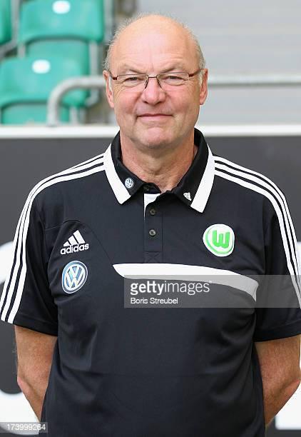 Kitman Heribert Ruettger of VfL Wolfsburg poses during the Bundesliga team presentation of VfL Wolfsburg at Volkswagen Arena on July 18 2013 in...