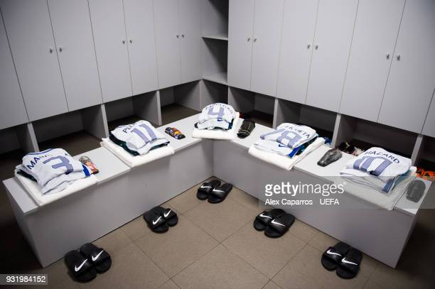Kits of Marcos Alonso Pedro Rodriguez Cesc Fabregas Cesar Azpilicueta and Eden Hazard of Chelsea FC are ready in the dressing room before the UEFA...