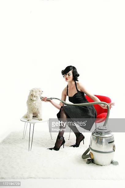 Kitsch serie : Woman drying a dog...