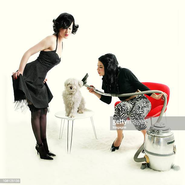 Kitsch series : women drying a dog