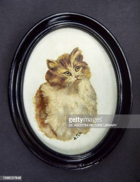 Kitten 1930 ca miniature oil on ceramic United Kingdom 20th century