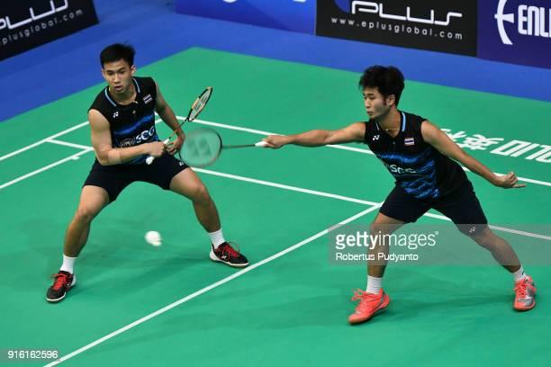 Kittinupong Kedren and Dechapol Puavaranukroh of Thailand compete against Kim Won Ho and Seung Jae Seo of Korea during Men's Team Quarterfinal match...