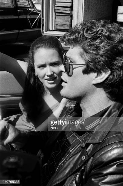 RIDER KITTnap Episode 3 Pictured Janine Turner as Karen Forester David Hasselhoff as Michael Knight Photo by Bud Gray/NBCU Photo Bank