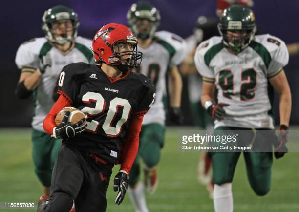 Kittson County Central vs WheatonHermanNorcross in 9Man semifinal game at the Dome 11/19/11 WheatonHermanNorcross Patrick Backman headed to the end...