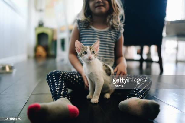 kitty and me - hairy girl stock pictures, royalty-free photos & images