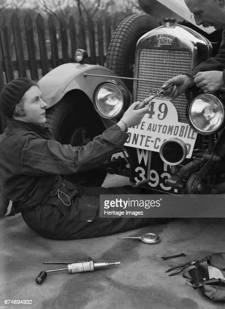 Kitty Brunell working on her Singer Junior, Monte Carlo Rally, 1928. Artist: Bill Brunell.