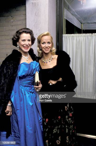 Kitty Carlisle Hart Linda Janklow during Mary Lasker's Annual Christmas Party December 14 1987 at La Grenouille Restaurant in New York City New York...