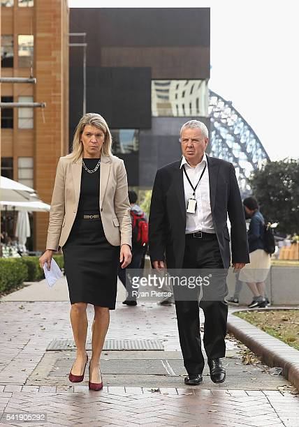 Kitty Chiller Chef de Mission for the 2016 Olympic Team and Mike Tancred AOC Director Media and Communications arrive for a media conference at First...