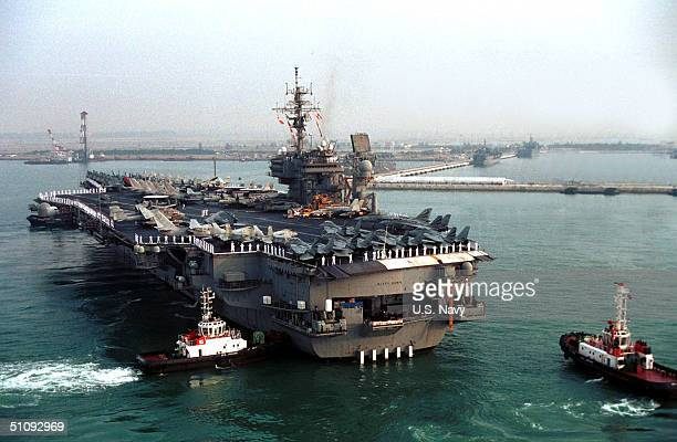 Kitty Hawk Makes Her Way Towards Changi Pier, March 22, 2001. Kitty Hawk Is The First U.S. Aircraft Carrier To Moor At The Republic Of Singapore's...