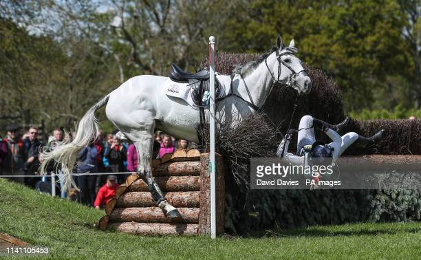 Kitty King is a faller on Vendredi Biats during day four of the 2019 Mitsubishi Motors Badminton Horse Trials at The Badminton Estate Gloucestershire