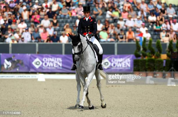 Kitty King of Great Britain riding Vendredi Biats competes during Day 3 of Longines FEI Dressage European Championship on August 30, 2019 in...