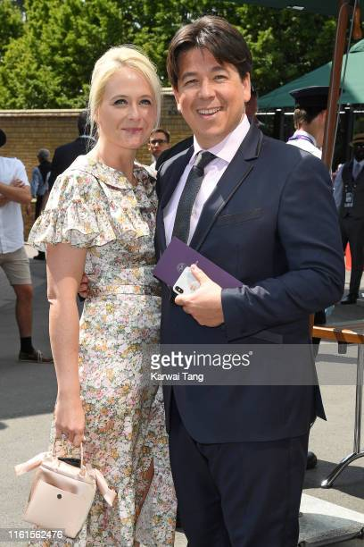 Kitty McIntyre and Michael McIntyre attend day eleven of the Wimbledon Tennis Championships at All England Lawn Tennis and Croquet Club on July 12,...