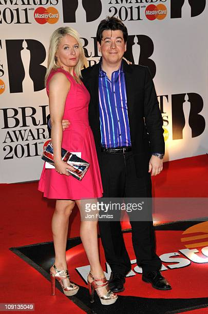 Kitty McIntyre and Michael McIntyre attend The BRIT Awards 2011 at O2 Arena on February 15 2011 in London England