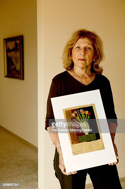 Kitty PasserovaLevy at her home with the art work she completed as a young child in the Nazi concentration camp of Terezin located in the current...