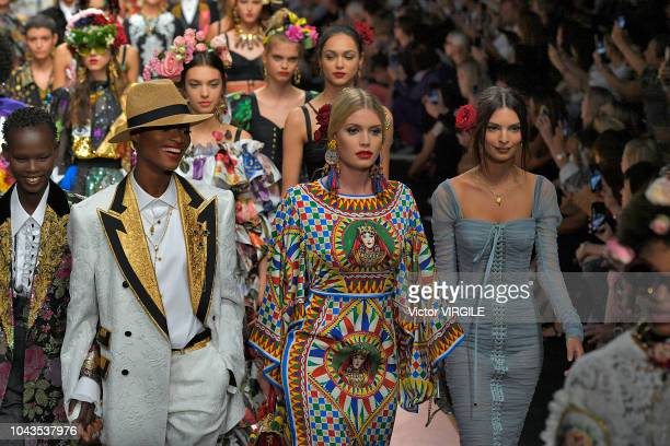 Kitty Spencer and Emily Ratajkowski walk the runway at the Dolce Gabbana Ready to Wear fashion show during Milan Fashion Week Spring/Summer 2019 on...