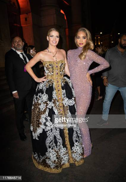 Kitty Spencer and Jasmine Sanders seen outside Amfar during the Milan Fashion Week Spring/Summer 2020 on September 21 2019 in Milan Italy