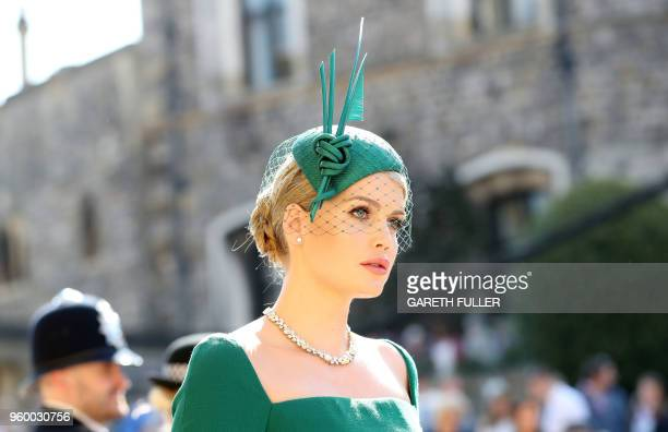 Kitty Spencer arrives arrives for the wedding ceremony of Britain's Prince Harry Duke of Sussex and US actress Meghan Markle at St George's Chapel...