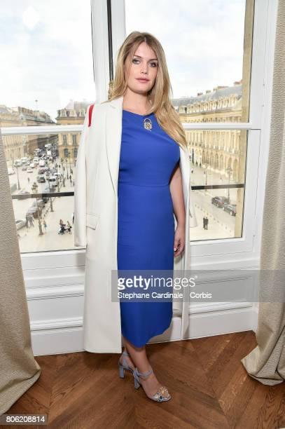 Kitty Spencer attends the Schiaparelli Haute Couture Fall/Winter 20172018 show as part of Haute Couture Paris Fashion Week on July 3 2017 in Paris...