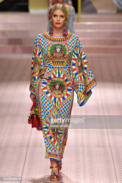 Kitty Spencer walks the runway at the Dolce Gabbana Ready to Wear fashion show during Milan Fashion Week Spring/Summer 2019 on September 23 2018 in...